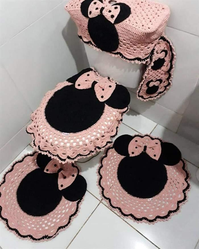jogo de banheira minnie rosa e crhoe