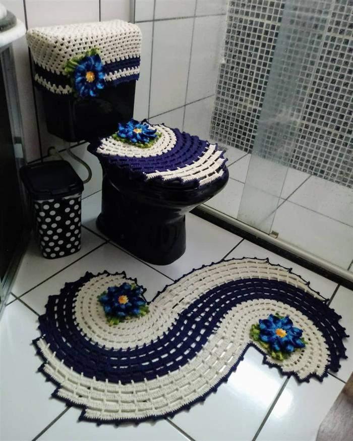 jogo de banheiro com tapete espiral