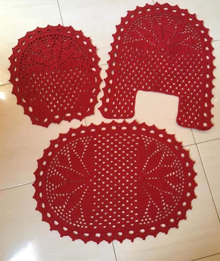 jogo de banheiro de crochê vermelho