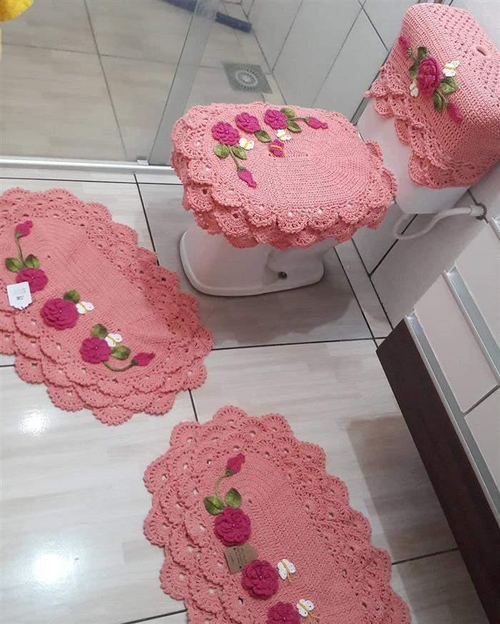 jogo de banheiro rosa claro