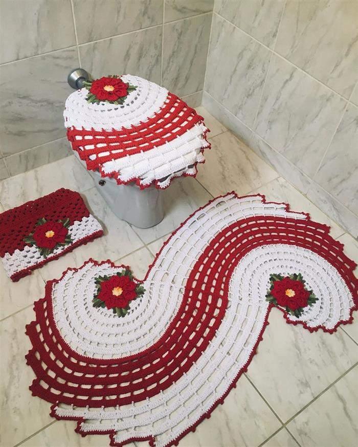 jogo de croche espiral vermelho com brancov