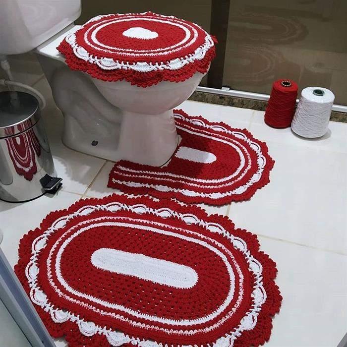 jogo de croche vermelho com branco