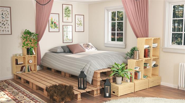 decoração de cama de palete com nichos