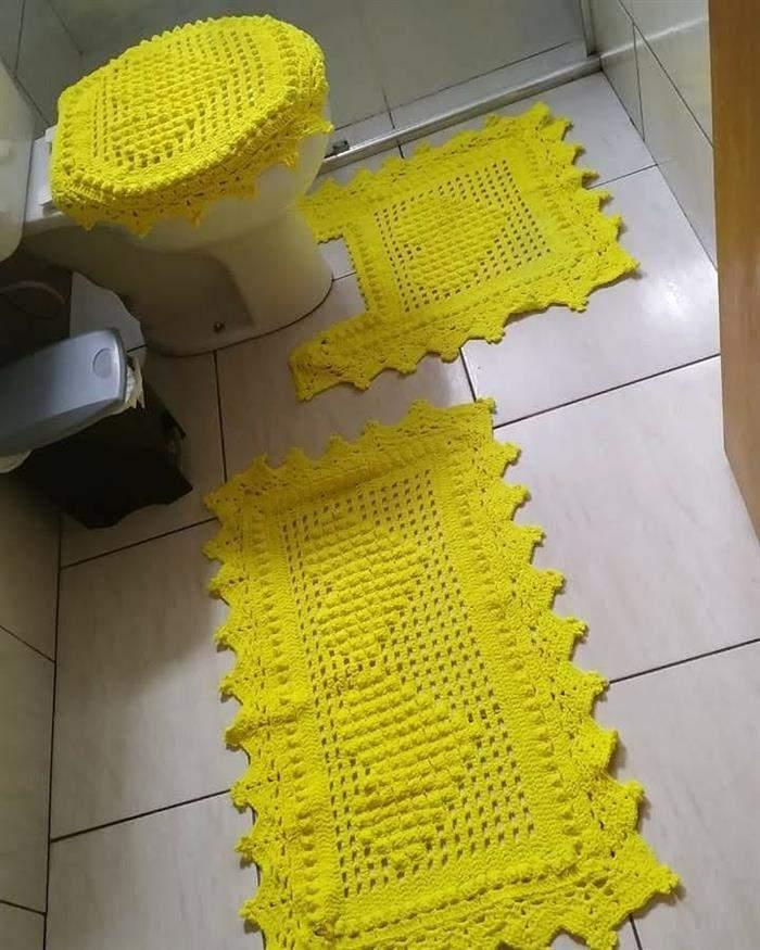 conjunto amarelo para banheiro