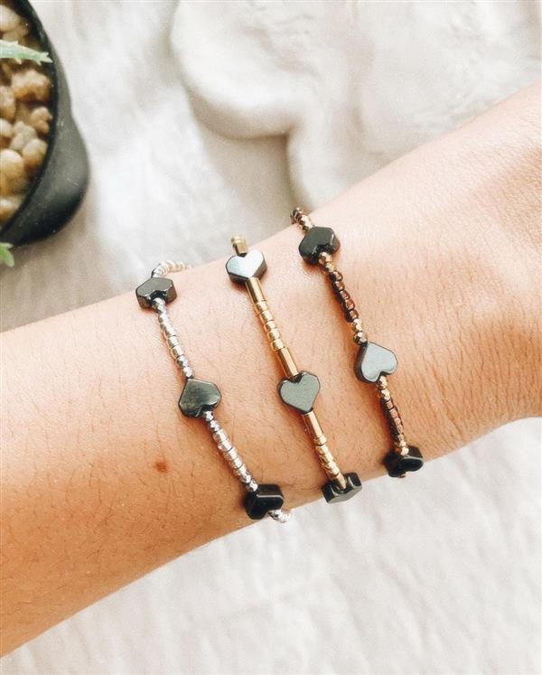 pulseira de miçanga cromada