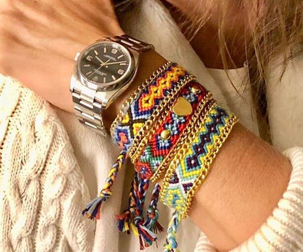 pulseira de tecido e corrente