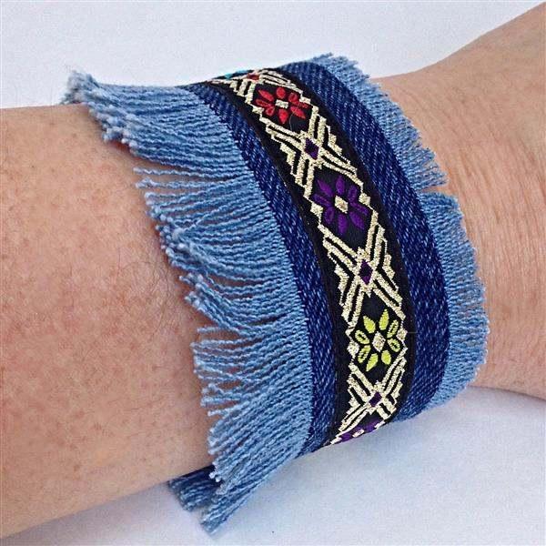 pulseira tecido azul