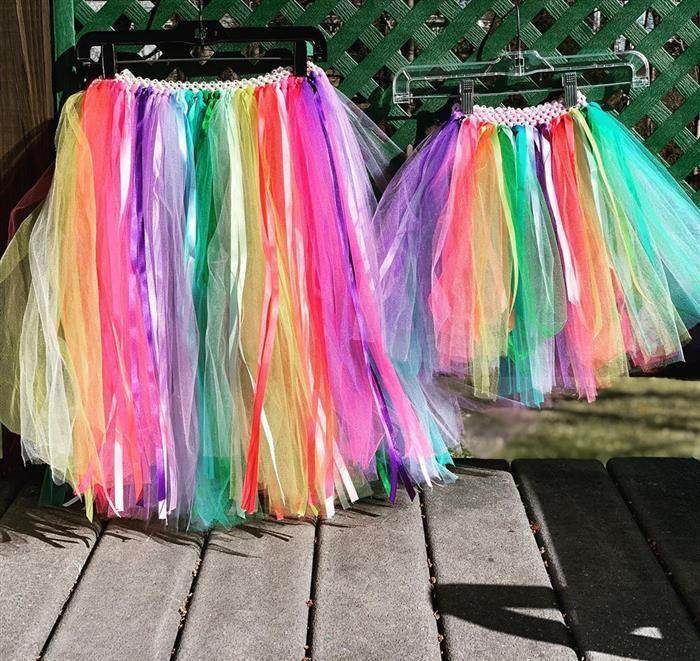 saia de tule colorida