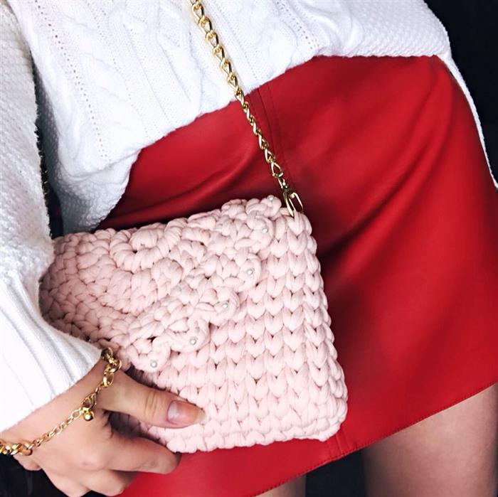 bolsa de malha feminina