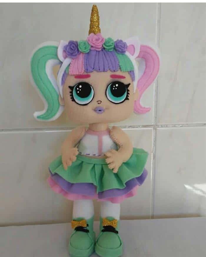 boneca unicornio me feltro