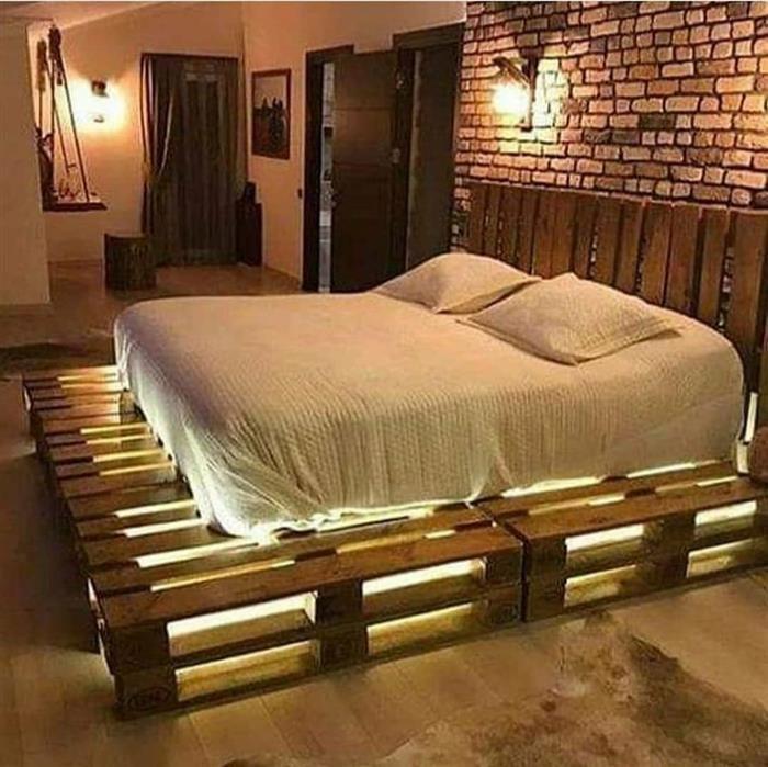cama com iluminação