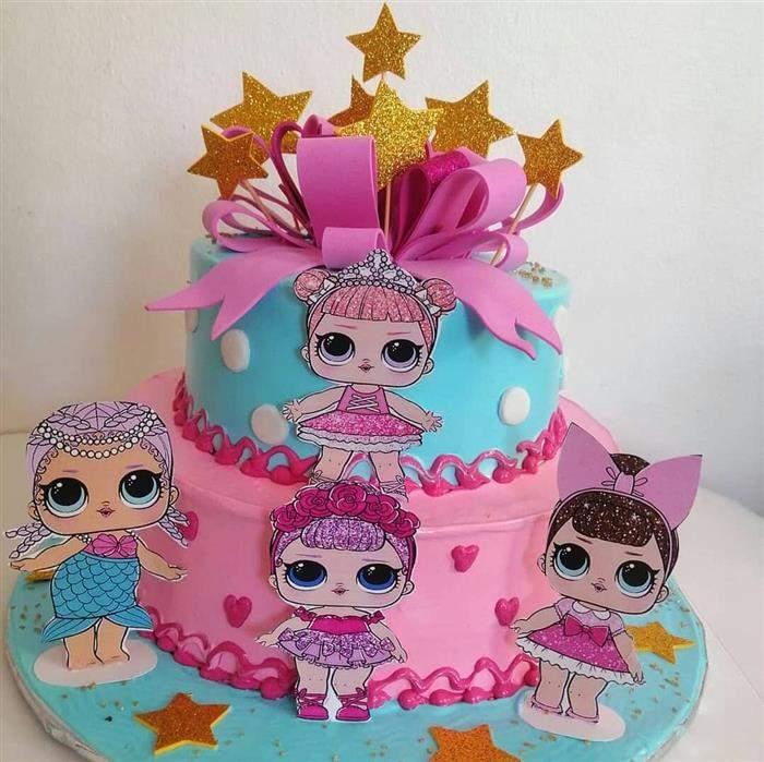 bolo rosa e azul lol