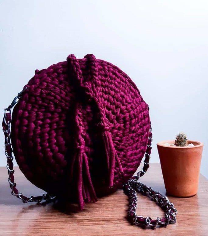 bolsa de fio de malha fácil redonda