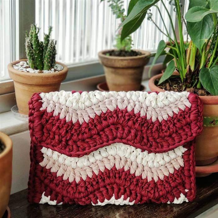 bolsa fio de malha com duas cores