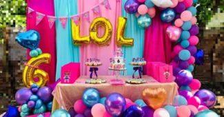 painel decorado festa da lol 1 ano