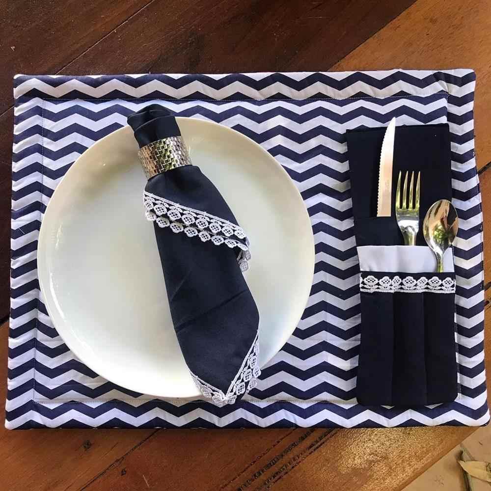 chevron azul e branco com porta talheres