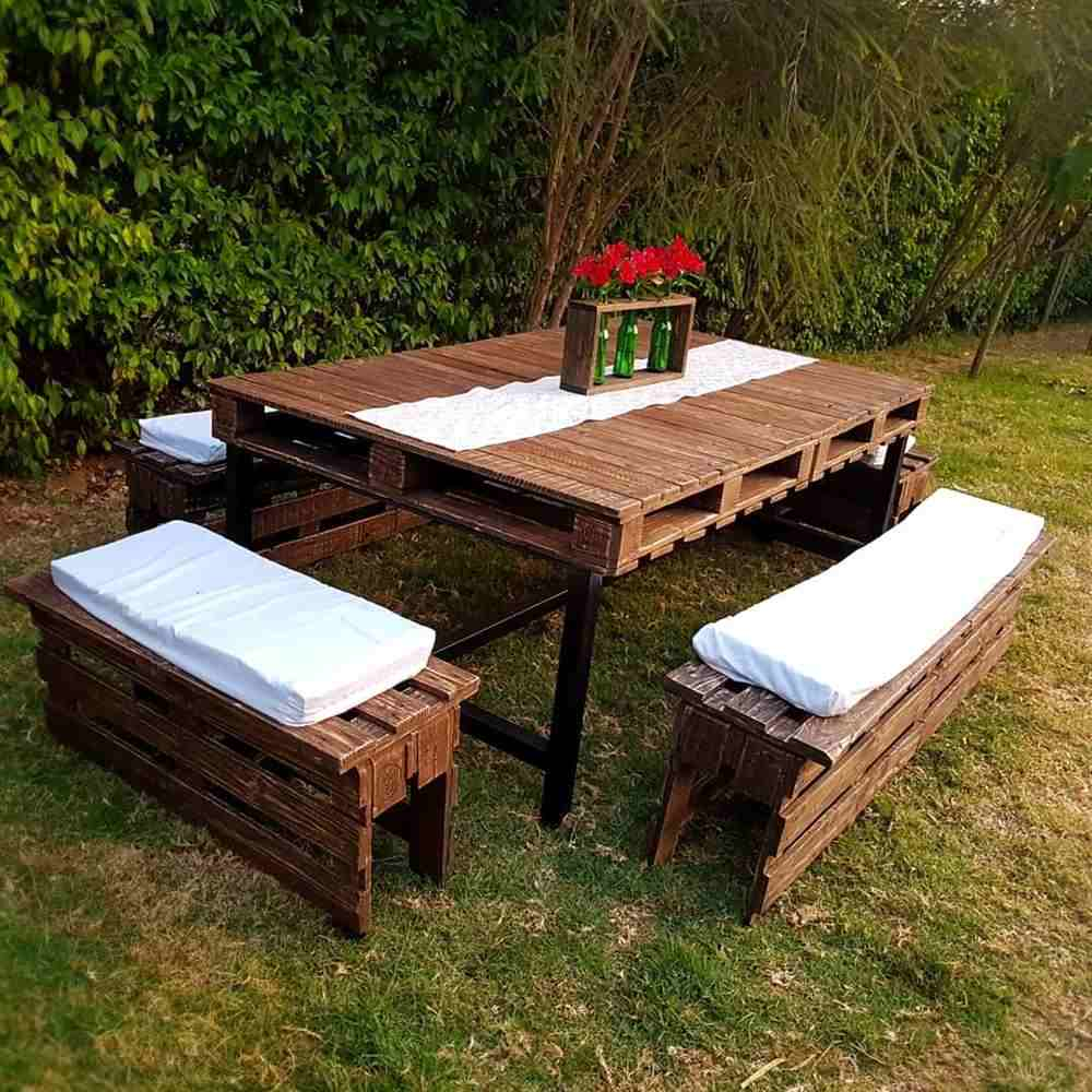 bancos de paletes para mesa
