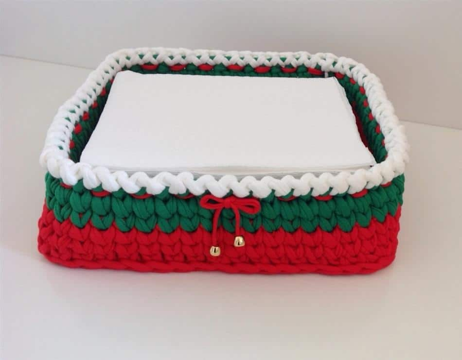 porta guardanapo de crochê de natal