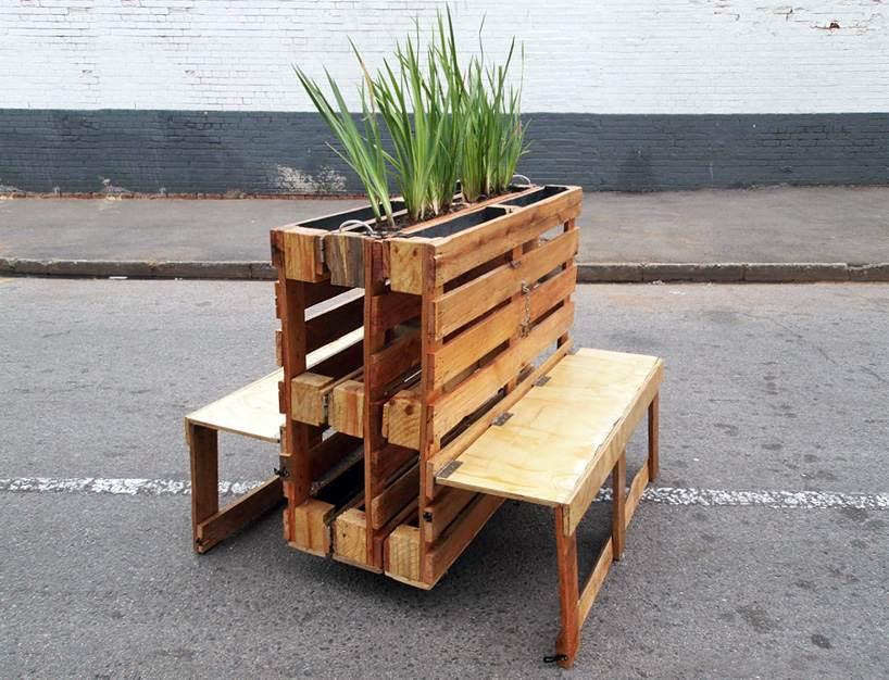 bancos de paletes com suporte para plantas