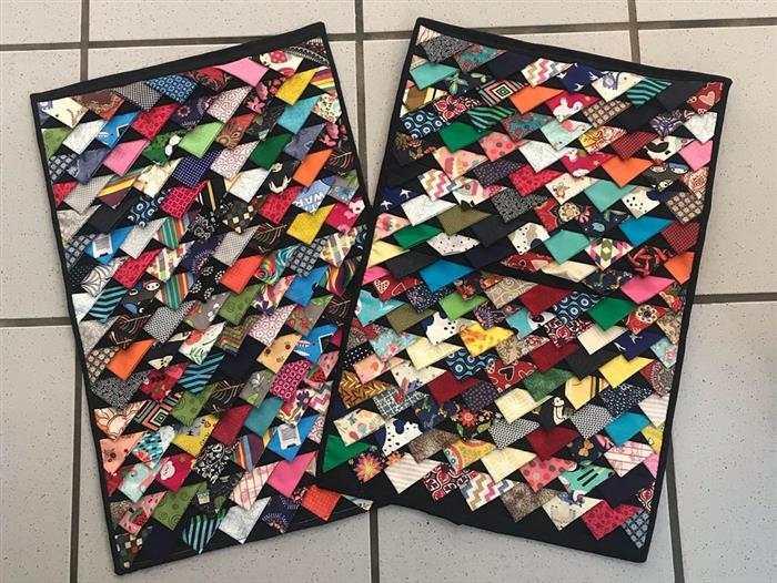 tapete de retalho costurado na máquina