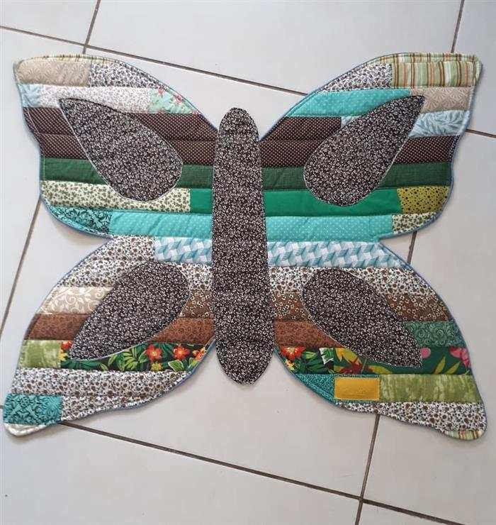 tapete de retalho borboleta