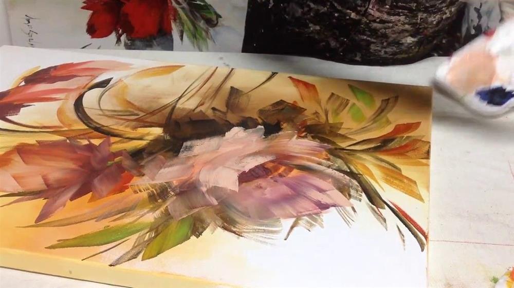 pintura com esponja e cotonete