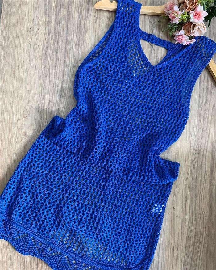 linha de croche azul