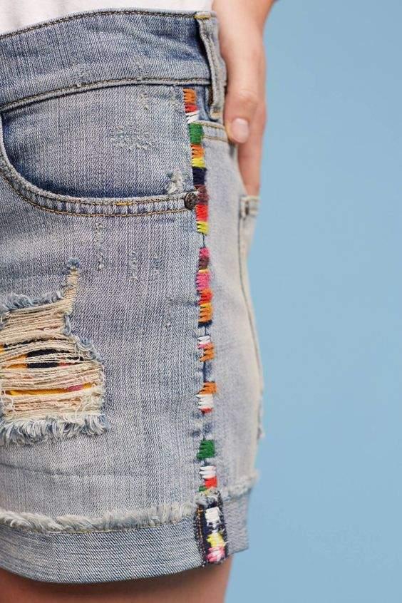short jeans com linha