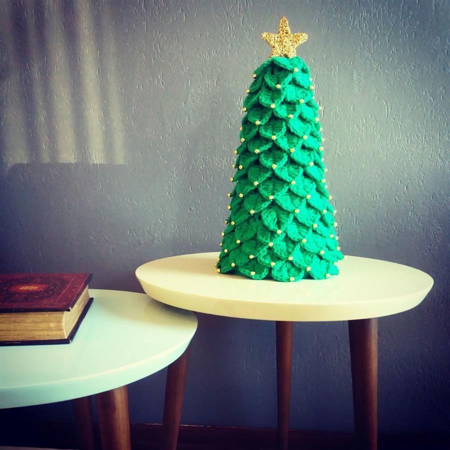 Árvore de Natal de crochê de mesa
