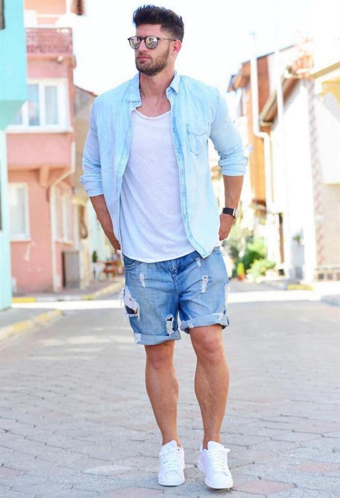 short jeans masculino rasgado