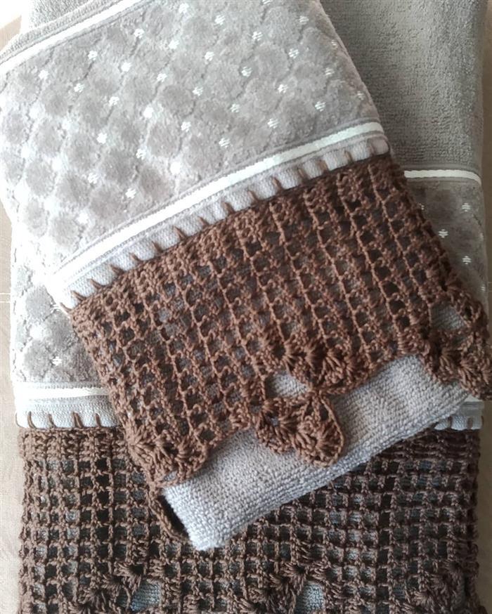 bico de croche toalha de banho