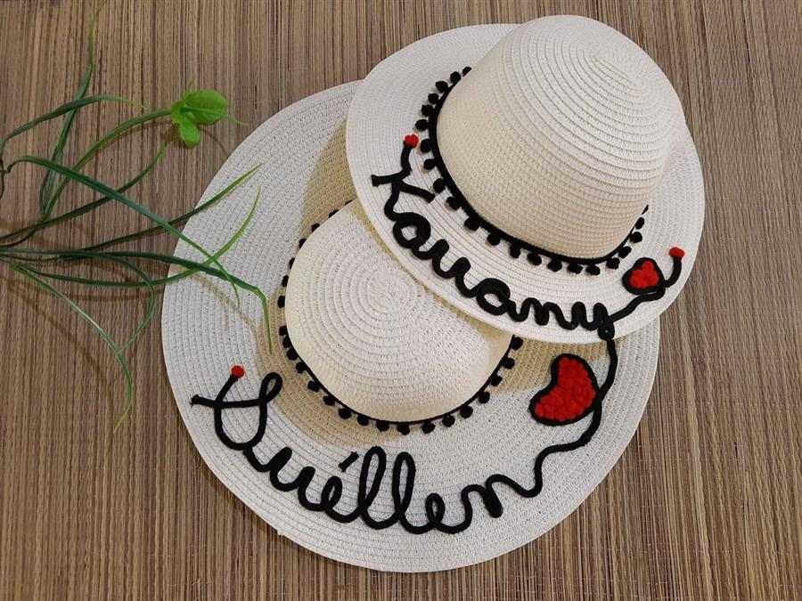 chapéu com nome mãe e filha