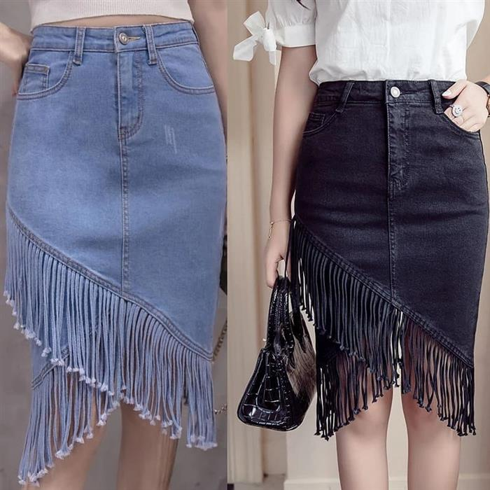 Saia jeans longa com franja