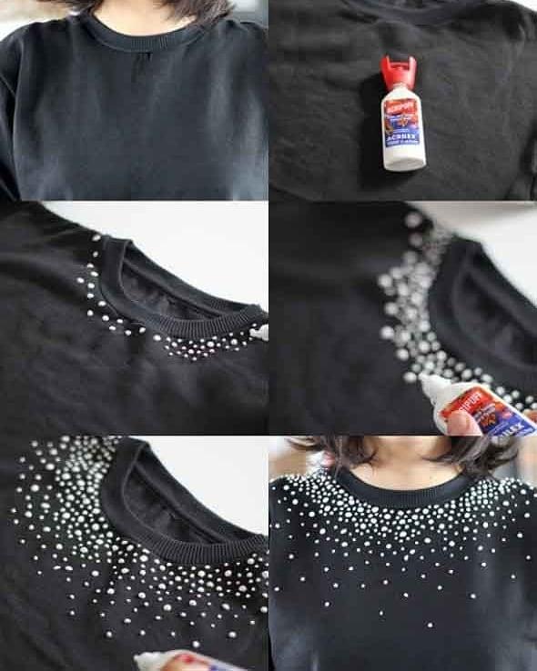camiseta básica com a gola decorada