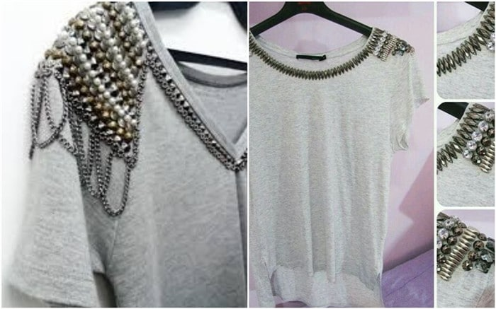 camisetas com tachinhas e correntes