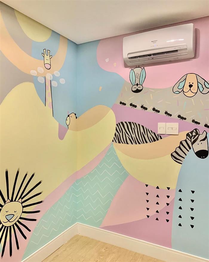 desenho na parede quarto infantil
