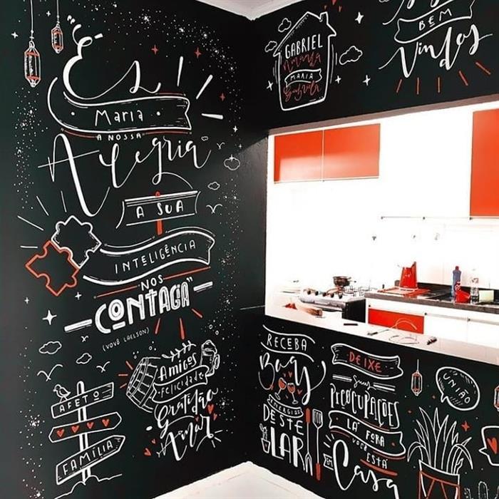 desenhos em parede preta