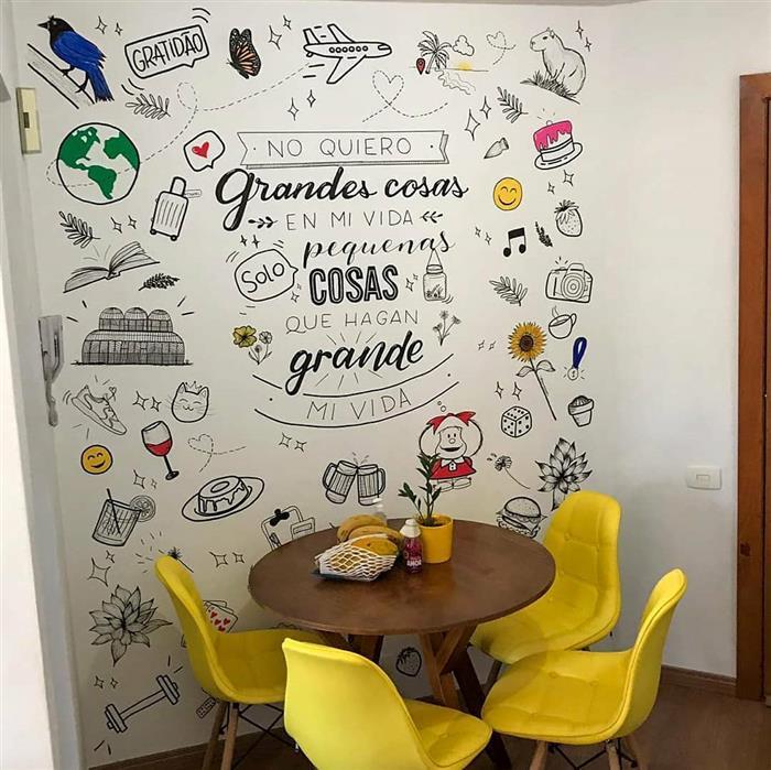 desenhos na parede da cozinha