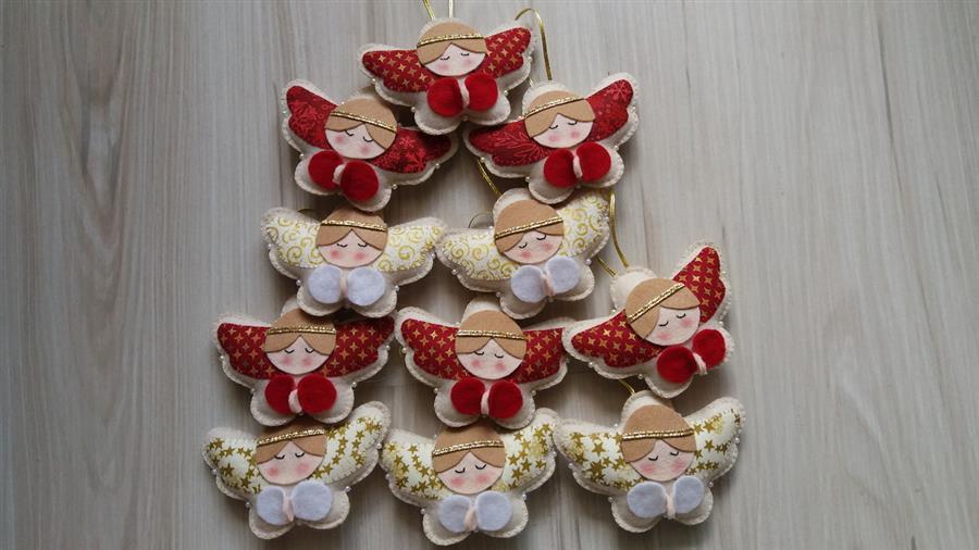 Anjinho de feltro para árvore de Natal