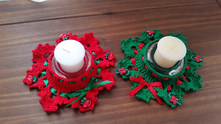 porta velas natalinas em crochê