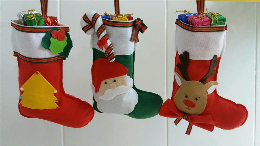 Meia de Natal em feltro