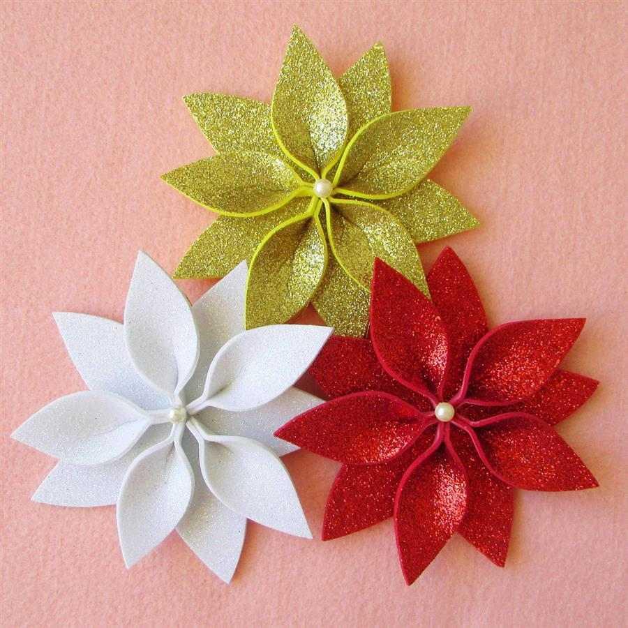 Flores de Natal em EVA com glitter