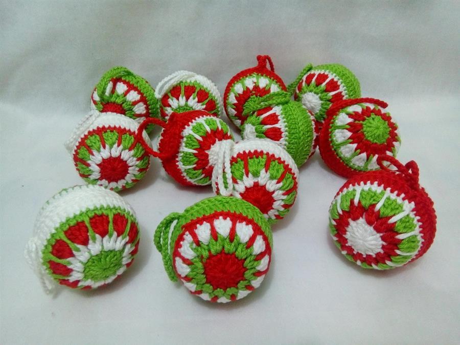Bolas natalinas de crochê