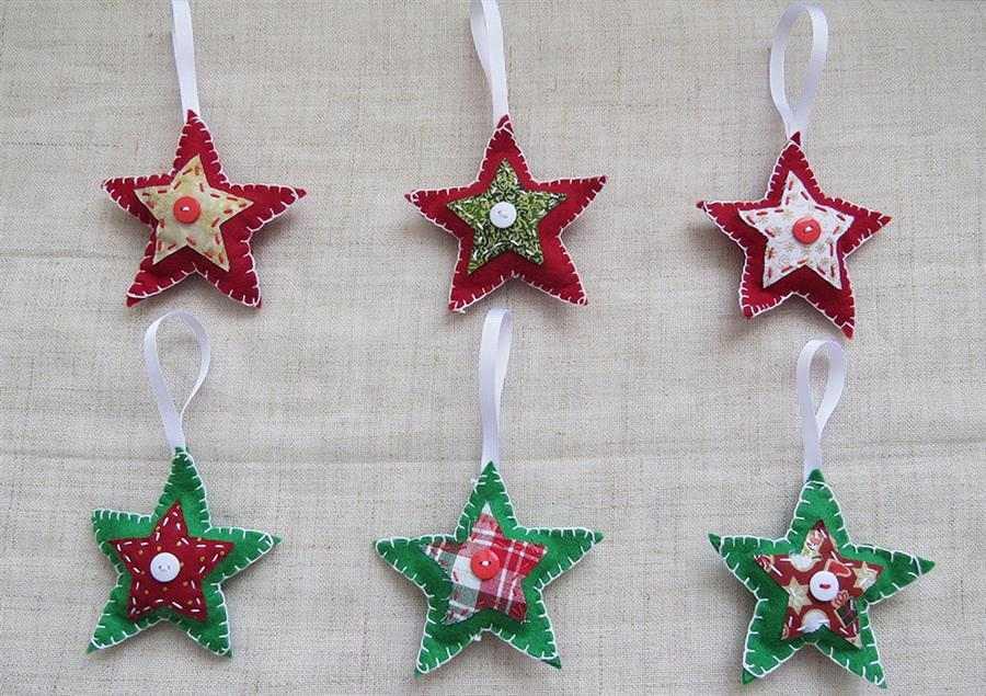 Estrelas para árvore de Natal em feltro