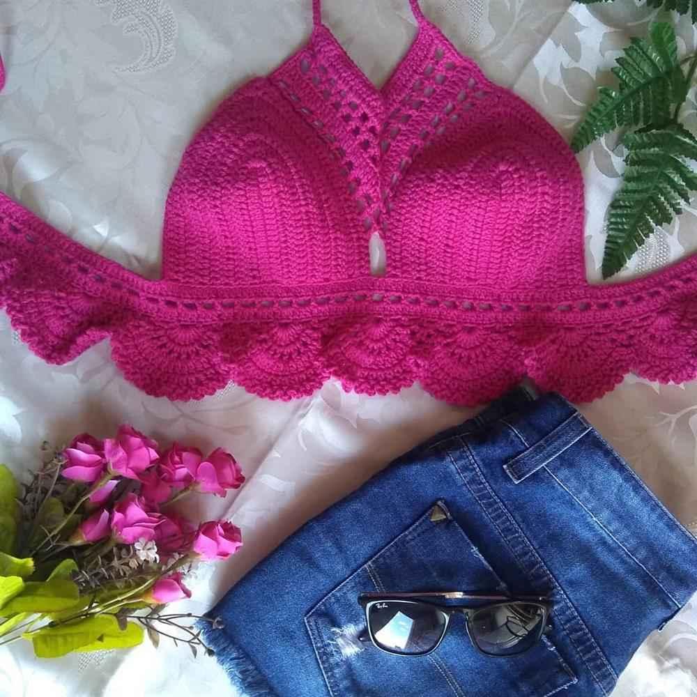Top de croche rosa