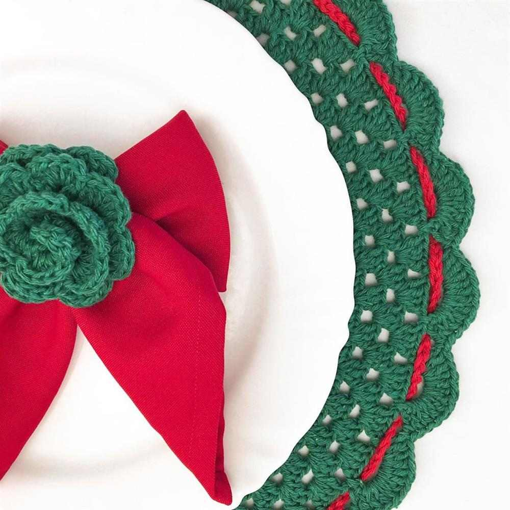 Sousplat de Natal de crochê verde