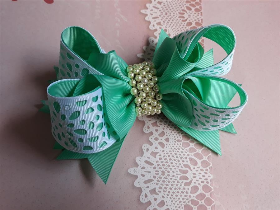laço boutique bambolê verde e branco