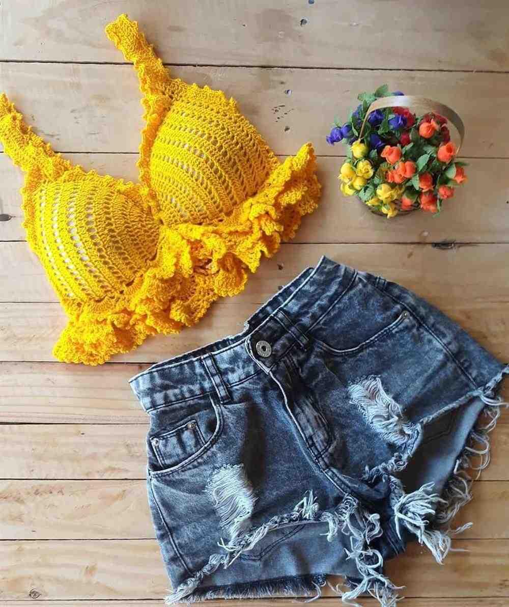 Top de croche amarelo