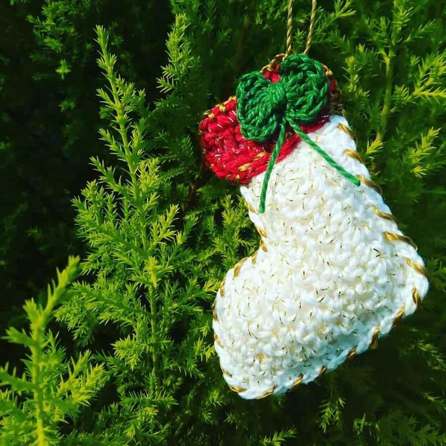 Bota natalina de crochê