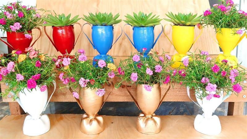 vaso de garrafa pet decorado